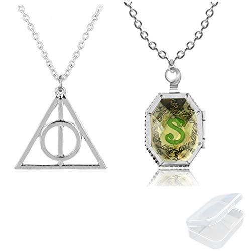 PPX 2 Stück Harry Potter Medaillon Horcrux Halskette und Deathly Hallow Symbol Anhänger Halskette Schmuck Set mit Klarsichtbox