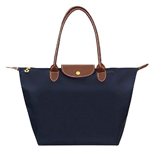 ZhengYue Cabas en Oxford Pour Femme Sac à Bandoulière de Pliage Grande Capacité Sac a Main Sac de Shopping pour Femme Navy blue L