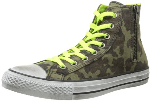 Converse, All Star Hi Side Zip Canvas, Sneaker, Unisex - adulto Green CM/N.Yellow Distressed