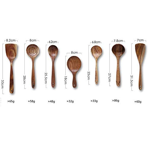 GY-YYYY Holzlöffel Teak Geschirr 7 Sätze von Haushaltsküchenutensilien schöne Anti-Drop einfach zu reinigen-Sieben Stück -