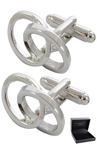 COLLAR AND CUFFS LONDON - Boutons de Manchette avec Boite-Cadeau Ovales Imbriqués - Design Classique - Infini - Laiton - Couleur Argent