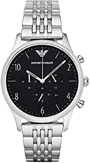 Emporio Armani Men's Black Dial Stainless Steel Band Watch - AR
