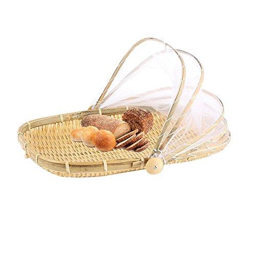 Handgemachte handgewebte Korb Essen staubdicht Korb Obst Gemüse Brot decken Picknickkorb mit Gaze