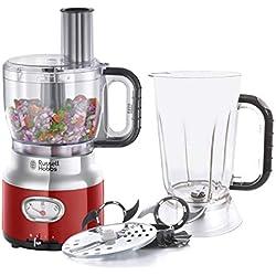Russell Hobbs 25180-56 Robot Cuisine Multifonction 2,3L Retro, Hâche, Mixe, Tranche, Râpe, Compatible Lave-Vaisselle, Design Vintage - Rouge