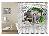 AmDxD Polyester Duschvorhang Elefant an der Wand Design Badewanne Vorhang Weiß für Badezimmer Waschbar 165x200CM