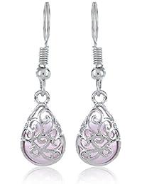 Fasherati Silber Farbe mit Mondschein rosa Opal Ohrringe für Mädchen