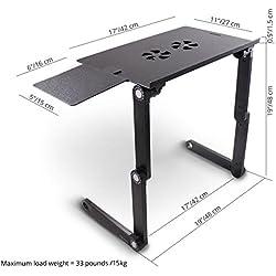 Lavolta Table de lit pour Ordinateur Portable Pliable Inclinable Plateau de Refroidissement 2 Ventilateurs Tapis de Souris Alliage d'aluminium - Noir