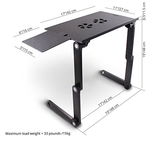 Lavolta Notebook-Ständer (zusammenklappbar, mit Ablage für die Maus, Kühler, 2 Lüfter, Aluminiumlegierung, Winkel der Beine kann verstellt werden) schwarz