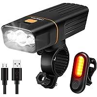 Kit Éclairage Vélo, OMERIL Lampe Velo Rechargeable Vrès Lumineux avec 3 LEDs, Phare de Vélo de 1200 Lumens et Feu Arrière, Faisceau Antireflet Lumière Vélo pour Cyclysme VTT, VTC, Bicyclette etc