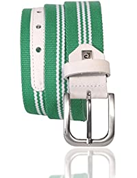 Mens sport belt / Mens belt Pierre Cardin, textile belt with real leather, green-white