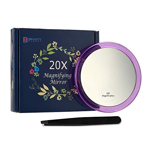 Espejo de Maquillaje con 3 Ventosas, Lupa 20X,...