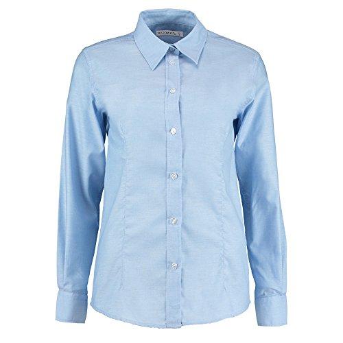 KUSTOM KIT Damen Modern Bluse Gr. 40, Hellblau (Front Sheer Blouse Ruffle)