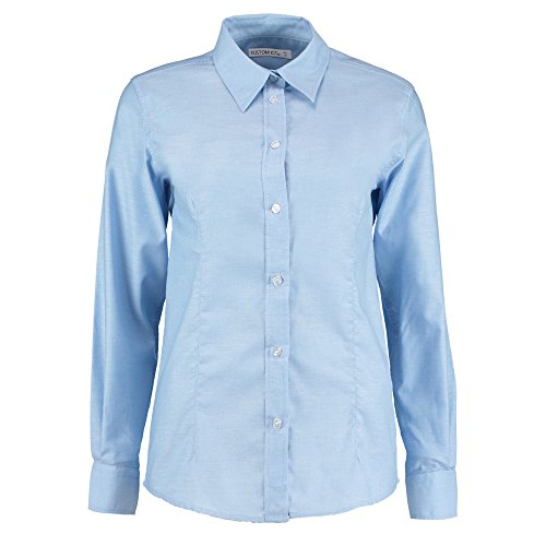 Satin Striped Button (KUSTOM KIT Damen Modern Bluse Gr. 40, Hellblau)
