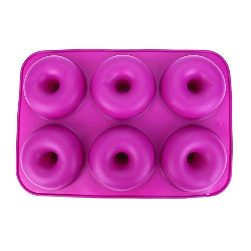 Dryujdytru Donut Pfanne, 2er Pack Silikon Krapfen Backform, Antihaftend Kuchenform, Einfach zu Backen Lebensgroß Perfekt Geformt Donuts That Your Family Kinder und Will Love für Wohndeko - Deep Purple