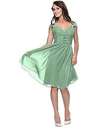 Astrapahl Festliches Kleid knielang Abendkleid Cocktailkleid breite Träger Farbe seegrün