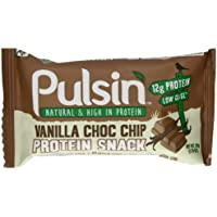 Pulsin Vanilla Choc Chip Protein Bar 50 g (Pack of 18) - Non Dairy Snack