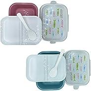 صندوق غداء عالي الجودة قابل للتكديس مكون من طبقتين و3 اقسام، صديق للبيئة ومصنوع من الياف القمح للاطفال والبالغ