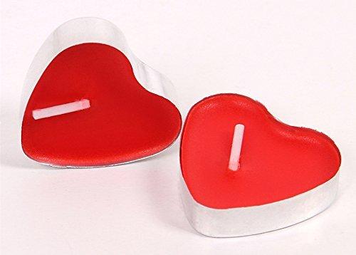 Ducomi essenza - 50 candele inodore a forma di cuore rosso con autonomia fino a 4 ore in contenitore di alluminio - lumini ideali per feste e decorazioni - crea l'atmosfera, lo spirito e l'equilibrio giusto (cuore)