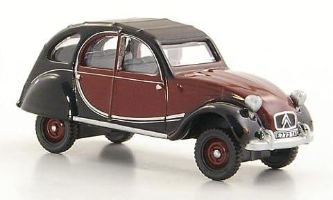 Citroen 2CV Charleston, rouge foncé/noire, RHD, 1963, voiture miniature, Miniature déjà montée, Oxford 1:76