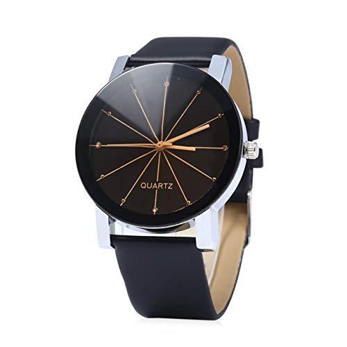 Cinturino in pelle moda vintage linea scala al quarzo movimento ragazzi ragazze studente orologio da polso amante casual quadrante rotondo orologio da polso nero