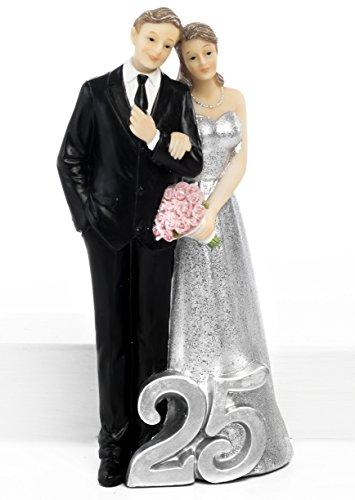 Nozze d'argento 25 anni matrimonio cake topper bomboniera in resina cm.18,50 by mandorle bomboniere