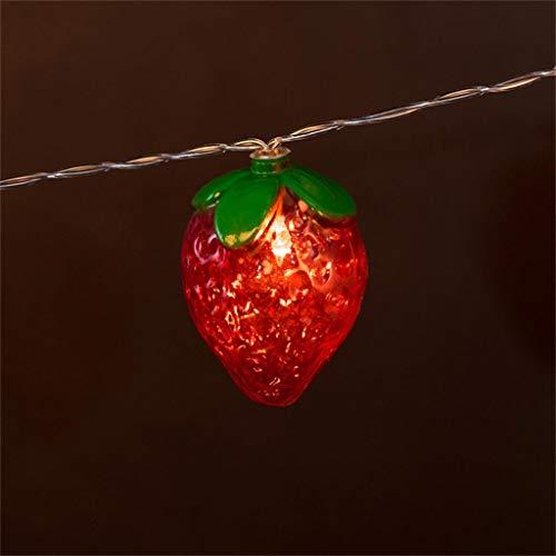 Loxmy Rote erdbeere obst lichterkette kinderzimmer dekoration lampe 10 led ✨ Lichterkette der roten Erdbeerfrucht der Simulation perfekte Inneneinrichtungsgartenbeleuchtung (Obst-ideen Für Halloween)