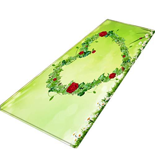 Preisvergleich Produktbild Xmansky Flanell Blumen gedruckten Schlicker saugfähige Matten, Muttertags-Serie Comfort Square Flanell Küche Anti-Rutsch-Fußmatten Kinderzimmer Teppich 40X120CM