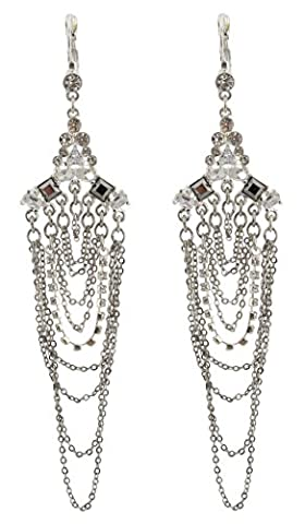 Zest Leverback Earrings with Chains and Swarovski Crystals Silver-Look