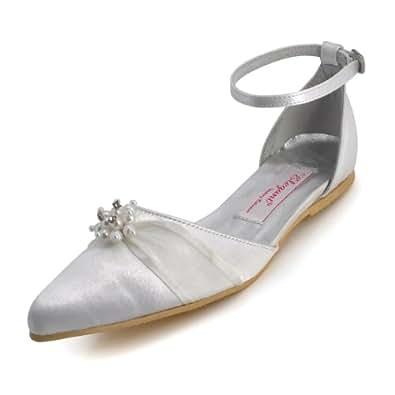 Elegantpark A711 Blanc Satin Arc Perle Bout Pointu Plates Chaussures de Mariage 36