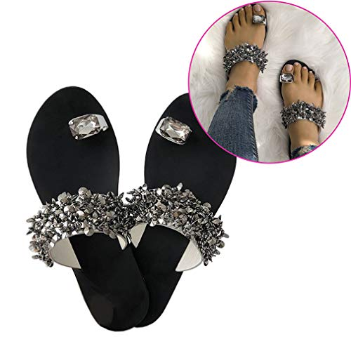 Haolv Frauen Strand Hausschuhe Kristall Sandalen Sommer Mode Diamant Flache Hausschuhe,38 - Diamant Flip-flop-sandale