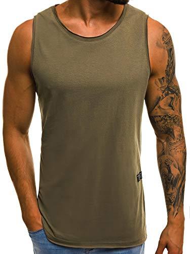 OZONEE Mix Herren Tanktop Basic Unifarben Tank Top Tankshirt T-Shirt Unterhemden Ärmellos Muskelshirt Sport O/1205 Khaki M
