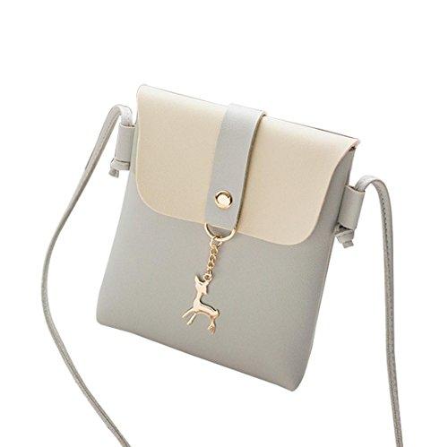Schultertaschen Für Damen Klein LUCKYCAT Kontrastfarbe Abdeckung Hirsch UmhäNgetasche Messenger Tasche Handy Geldbörse (Size: 15cm(L)*3cm(W)*18cm(H)/5.9(L)*1.2(W)*7(H)', A-002-...