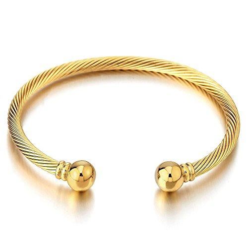 COOLSTEELANDBEYOND Goldfarben Elastische Verstellbare-Edelstahl Armband für Herren Damen Verdrehten Stahlkabel Armreif Poliert