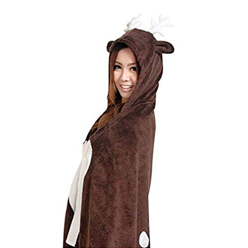 Très Chic Mailanda Halloween Kostüm Cartoon Tier Cape Mantel Jacke Cosplay Poncho Weich Klimaanlage Umhang (One Size, Rentier)
