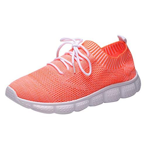 YEARNLY Herren Sneaker Slip on Sportschuhe Turnschuhe Outdoor Leichtgewichts Laufschuhe Freizeit Atmungsaktive Schuhe Traillaufschuhe, Footwear Schwarz, Weiß, Orange Drei