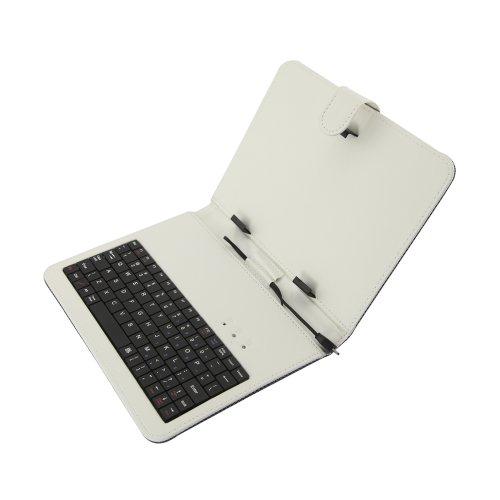 Für Computer-kästen Verkauf (Mystore365 Micro USB Tastatur PU Leder Kasten Abdeckung Stand fuer 8 Zoll Android Tablet PC mit OTG Funktion, Qualitaet und Nagelneu mit Strapazierfaehigem PU Leder - Weiss)