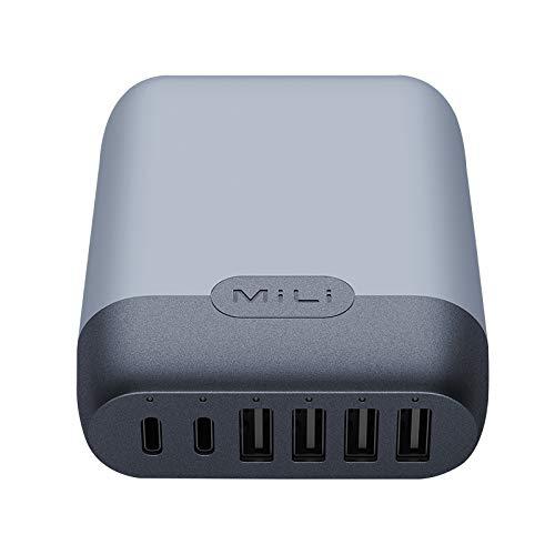 MiLi USB Ladegerät 6-Port 60W Adapter 4X USB/2X USB-C Aufladegerät Netzteilstecker kompatibel mit Phone XS/XR/X/8-Samsung-Nintendo Switch (USB-C Schnellladefähig) - Licht-land-switches