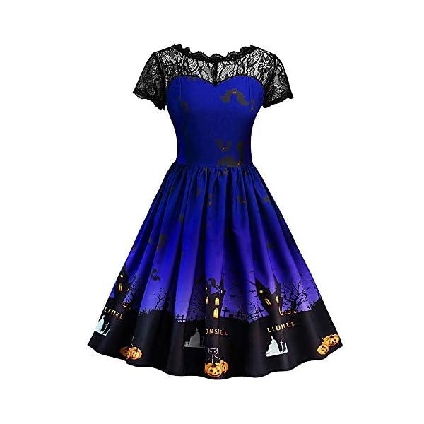 Women Short Sleeve Halloween Retro Lace Vintage Spliced Dress A Line Pumpkin Bat Swing Dress Evening Party Dress