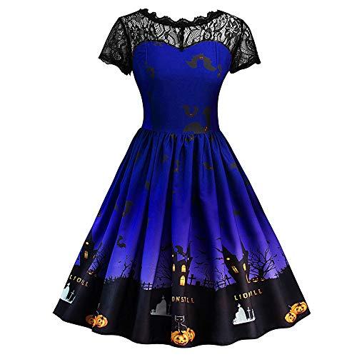 catmoew Halloween Kleid Kleider Sommer Damen Sommerkleid Damen Lang Knielang Kleid Damen Sommer Frauen Halloween Druck DREI Viertel Lassig Abend Party Prom Swing Kleid