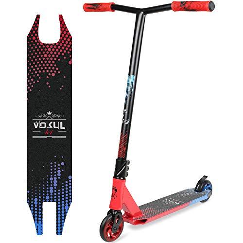 Vokul BZIT K2 Patinetes de Acrobacias Stunt Scooter Pro Freestyle de Color Mixto - con Ruedas de 110 mm, hasta 100 kg (Rojo&Azul)