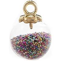 2pcs Globo de Cristal de la Bola de la Esfera de Frascos Colgante de Collar  Con Caviar de Semilla de Perlas Y de Oro de la Tapa de 16m x 21 mm Agujero  ... 832facbc8caa