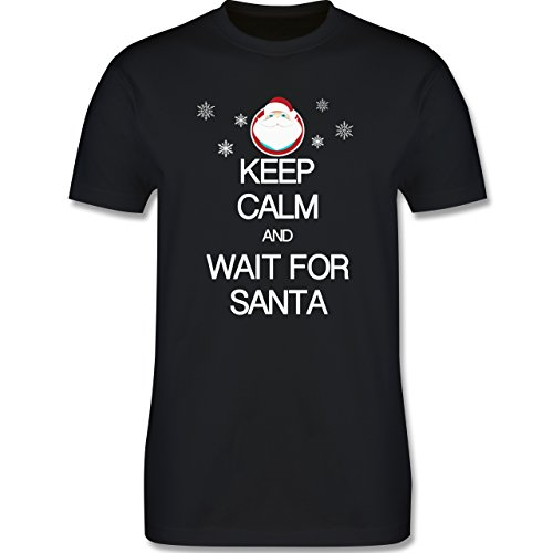 Keep calm - Keep calm and wait for Santa - Herren Premium T-Shirt Schwarz