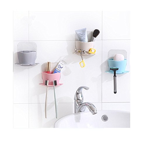 Lalang 1 Stück Cartoon Staubsaug Bad Accessoires Produkte der Wand befestigter Zahnbürstenhalter Saugnapf (Rosa)