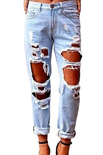 YACUN Damen Boyfriend Destroy Jeans Sommer Löcher Hose Ripped Jeanshosen Mit Loechern Röhrenjeans Bleistifthose Blau L - Ripped Boyfriend Jeans