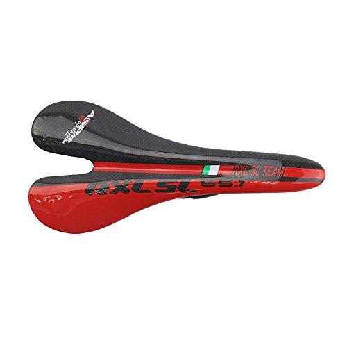 RXL SL Sillin Carbono Sillines Bicicleta Carretera Carbono Ultraligero (Rojo,27x13CM)