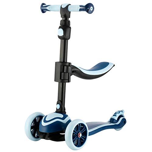 er Roller Outdoor Fahrrad Kinder Tretroller für Kinder Junge und Mädchen 4 Wheeler 3~15 Jahre Alter Kinder Roller Kindertransport (Color : Blue, Size : 62cm*28cm*88cm) ()