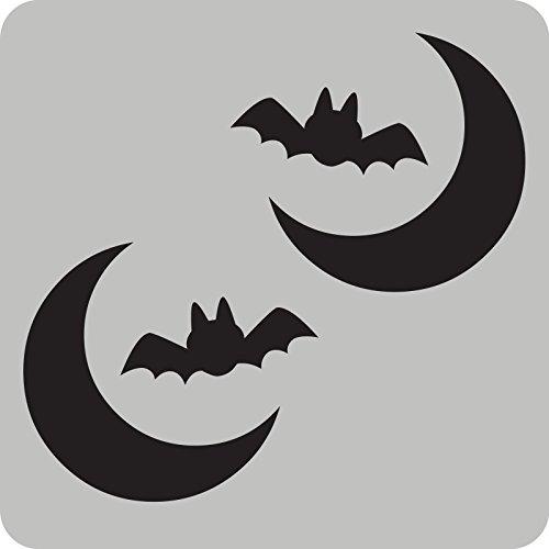 (2 Fledermaus mit Mond-Aufkleber zur Dekoration von Autos, Motorrädern, Fahrrädern und allen anderen Fahrzeugen)