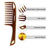 Hair Comb- a Handle Hair Comb infused with Argan Oil by Majestik+, Wide Tooth, Frizz Free, Smooth, Brown, Detangling Comb, With Free Bespoke PVC Product Pouch