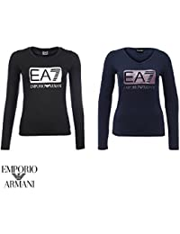 Armani EA7 - Femme - T-Shirt noir col V 6XTT80 Hiver 2016/17