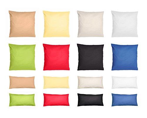 Standard Baumwoll-Renforcé 2er Pack Kissenbezug, Kissenbezüge, Kissenhüllen in 3 Größen und verschiedenen Farben, 100% Baumwolle (80 cm x 80 cm, grün) (Kissenbezüge Standard-baumwolle)